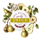 Pear juice paper emblem over hand drawn pears, flower and slices - 239450353