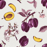 Seamless pattern with hand drawn plum flowers and fruits - 239450563