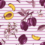 Seamless pattern with hand drawn plum flowers and fruits - 239450703