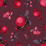 Seamless pattern with hand drawn pomegranates - 239451391