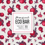 Eco bar paper emblem with type design over pomegranate background - 239451592