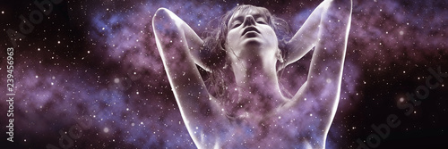 beauty and sensuality concept - double exposure of beautiful seductive woman and purple galaxy - 239456963