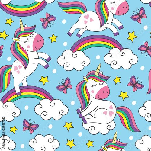 obraz lub plakat seamless pattern with little unicorns in sky - vector illustration, eps