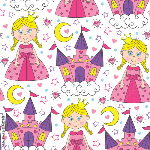 mata magnetyczna seamless pattern with beautiful princess and castle - vector illustration, eps