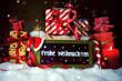 Leinwanddruck Bild - Weihnachtsgeschenke mit Gruß - Frohe Weihnachten