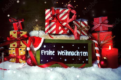 Leinwanddruck Bild Weihnachtsgeschenke mit Gruß - Frohe Weihnachten