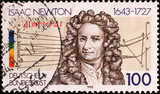Portrait of Sir Isaac Newton on german stamp
