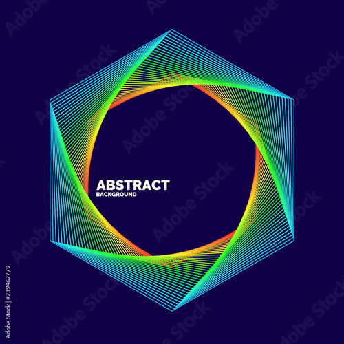 Elegant abstract poster with colorful lines on a dark background. - 239462779