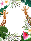 Summer frame with tropical jungle leaves and giraffe.Vector aloha illustration. Watercolor style - 239463944