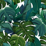 Jungle exotic seamless pattern, green tropical leaves, summer vector illustration on white background. Watercolor style - 239463954