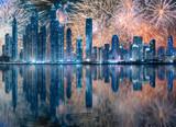 Beautiful fireworks above Dubai Marina bay, UAE