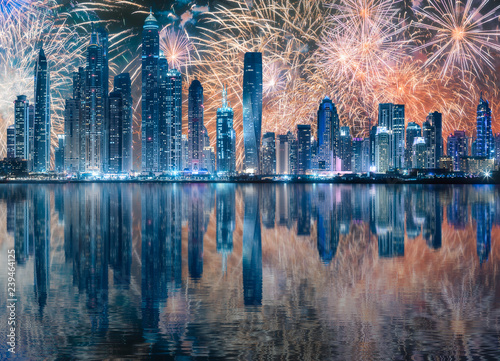 obraz PCV Beautiful fireworks above Dubai Marina bay, UAE