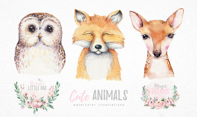 Watercolor set of forest cartoon isolated cute baby fox, deer and owl animal with flowers. Nursery woodland illustration. Bohemian boho drawing for nursery poster, pattern