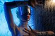 Leinwanddruck Bild - Man in virtual glasses near the digital screen