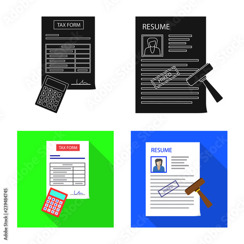 Vector design of form and document icon  Set of form and mark vector