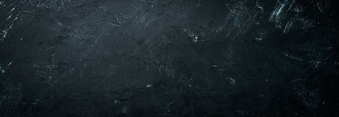 Black stone background. Top view. Free copy space.