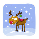 Christmas deer with snow on background.