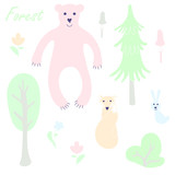 Cute animal and plant forest vector color characters set. Sketch fox, rabbit, hare, bear, fir tree, flowers, mushroom in pastel blue, pink, green, orange colour. Forest animal doodle drawing. Isolated