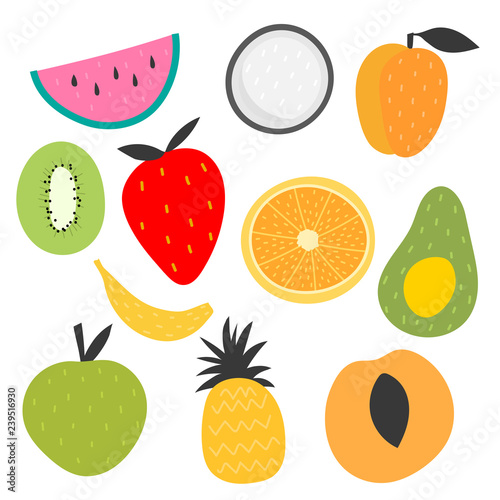 Isolated vector set of decorative fruits for print, decor. Kids illustration. - 239516930