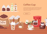 Coffee house concept banner, flyer vector illustration with cartoon cappuccino, latte cups, seeds arabica, cinnamon milk, coffee pot, cookies, anise and sugar for coffee shop.