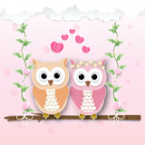 Couple Owl and heart and roses ivy illustration, paper art, paper cut style