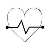 Heartbeat medical symbol black and white - 239548710