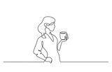 Woman relaxing with cup of tea Continuous line