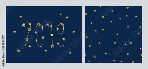 Happy New Year 2019. Merry Christmas. Set of Greeting card with stars and seamless pattern for gift wrap, textile or book covers, wallpapers and scrapbook. Vector.