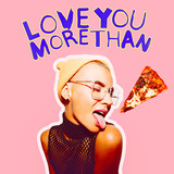 Girl in love mood. Love You more than pizza. Valentine's day concept - 239567712