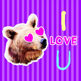 Minimal collage art. Bear in love. I love you. Valentine's day concept - 239567745