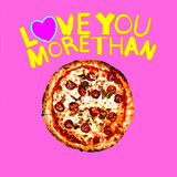 Minimal collage art. Valentine's day concept. Love you more than pizza. - 239567747