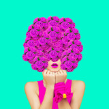 Minimal collage art. Lady bouquet. Spring is coming. March 8 concept - 239567773