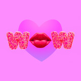 Fashion Minimal art collage.  Wow. Lips. Kiss. Valentine's day concept - 239567970