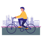 man riding bike in the city