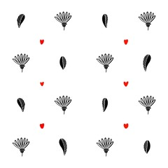 Floral seamless background with hearts © jane_v_afrike