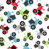 Seamless watercolor colorful tractor pattern for kids.