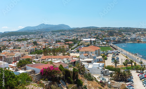 Aerial panoramic view on city of Rethimno, Crete island, Greece