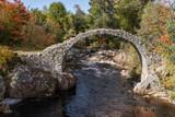 Historic bridge amidst fall foliage in Scottish Highlands