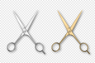 Vector 3d Realistic Silver and Gold Metal Opened Stationery Scissor Icon Set Closeup Isolated on Transparency Grid Background. Design Template of Classic Scissors for Graphics, Mockup. Top View