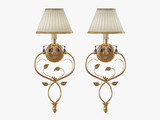 Gold sconce one lamp on white background 3d rendering
