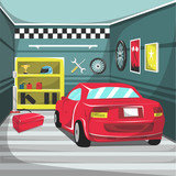 Clean Garage Car Interior with helm, red tool box, air pump, screwdriver, motorcycle tire, trophy for Cartoon Vector Illustration