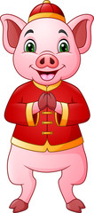 Cartoon pig with traditional Chinese costume greeting Gong Xi Gong Xi © idesign2000