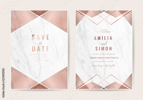 Wedding Invitation Cards With Luxury Gold Marble Texture Background