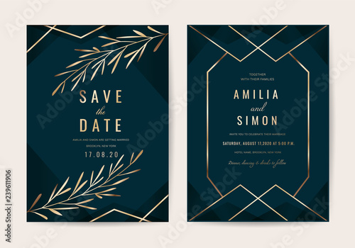 Wedding invitation cards with Gold floral and Luxurious  background texture vector design template  - 239611906