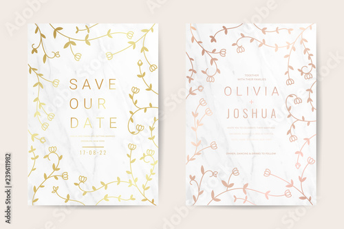 Wedding invitation cards with Luxurious gold floral and marble texture background vector design template