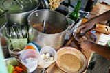 Preparation of traditional Indonesian vegetarian food on the street