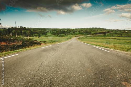 Road landscape in norwegian hill mountains