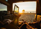 car camping sunset on the Oregon coast