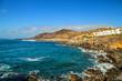 Leinwandbild Motiv The peninsula La Isleta at Las Palmas de Gran Canaria, Spain with famous surfing spot and Playa de El Confital beach