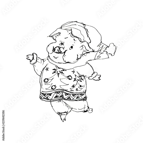 Chinese 2019 New Year symbol Santa pig cartoon chibi character children coloring page isolated on white background